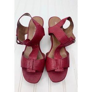 Franco Sarto • Red Wedge Cork Sandals • 8M